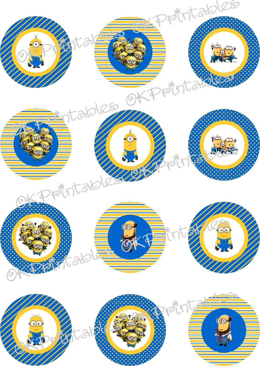 Minions (Despicable Me) Cupcake Toppers, Printable, Minion ...