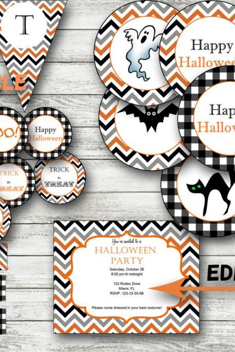 Halloween Party Package printable- Editable pdf invitation and banner- Halloween Decoration Halloween Banner editable- Halloween Party