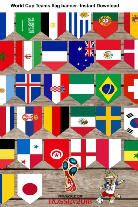 Russia 2018 World cup Groups Flags banner- Flags Garland- 32 flags
