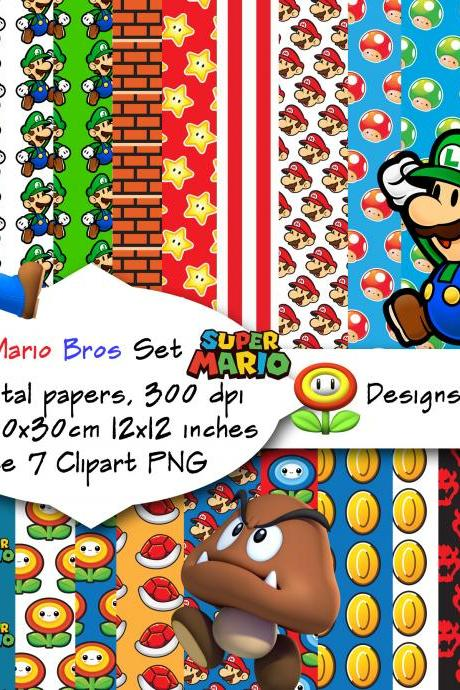 Mario Bros inspired digital paper pack , 12x12, 25 papers, JPG, scrapbook, clipart free, Digital Paper, Birthday Party, Invitation P&C use