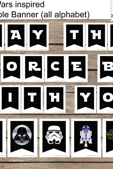 All Alphabet Star Wars Banner Printable Set- All occassion- All Alphabeth