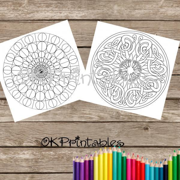 Pack of 13 beautiful and detailed mandala to color-in, in PDF format. Instant download