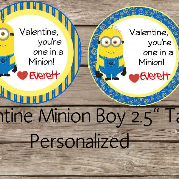 Minion boy valentine tag- You are one in a minion Valentine Tag - Valentine Class Tag - Personalized 2.5 inches tag, Printable tag