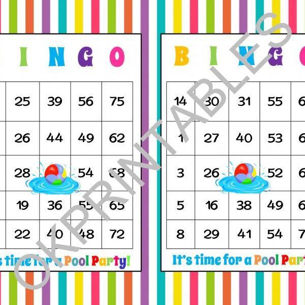 30 It's time for a Pool Party! Bingo cards - Printable Pool Party game - Pool Party